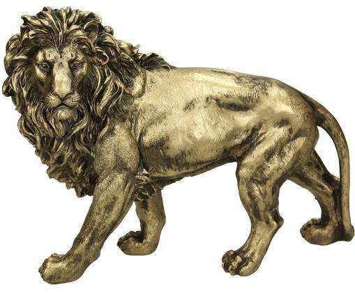 Dekoracja Lion, Poliresing, Odcienie złotego, S 29 x W 22 cm