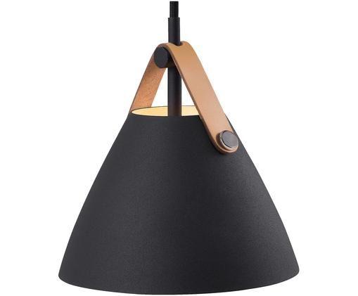 Hanglamp Strap met leren  band, Lampenkap: gepoedercoat metaal, Baldakijn: kunststof, Zwart, Ø 16 x H 17 cm