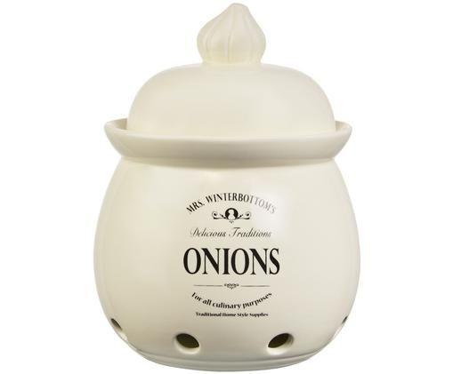 Aufbewahrungsdose Mrs Winterbottoms Onions, Steingut, Creme, Schwarz, Ø 20 x H 27 cm