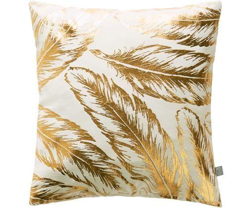 Samt-Kissenhülle Feathers, Baumwollsamt, Gebrochenes Weiß, Goldfarben, 45 x 45 cm