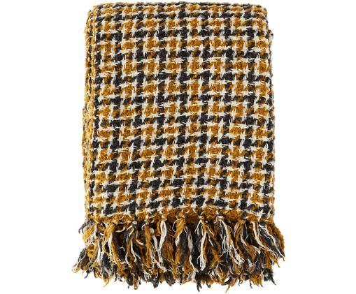 Manta Volka, Mezcla de lana, Amarillo, beige, gris oscuro, An 130 x L 160 cm