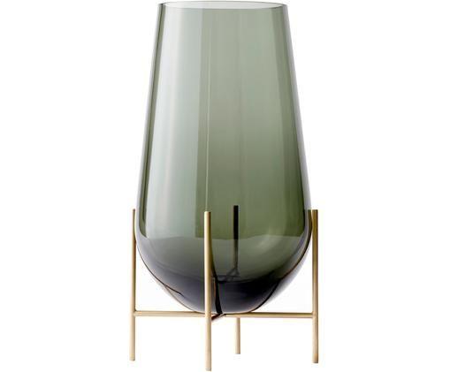 Jarrón Échasse, Estructura: latón, Jarrón: vidrio, soplado artesanal, Latón, Ø 15 x Al 45 cm