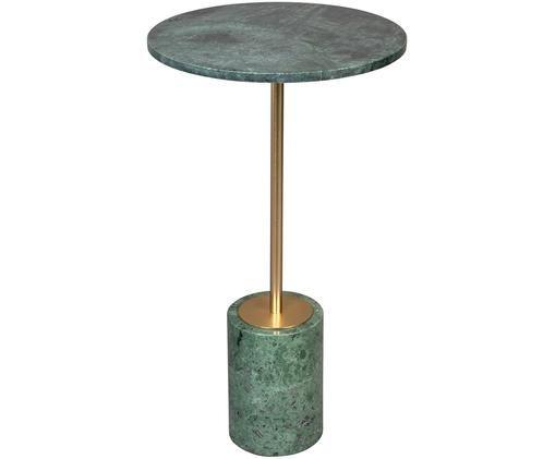 Tavolino rotondo in marmo Gunnar, Gambe: metallo verniciato a polv, Verde, marmorizzato, Ø 38 x Alt. 65 cm