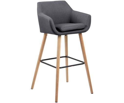 Polster-Barstuhl Nora, Bezug: Polyester, Beine: Eichenholz, ölbehandelt, Bezug: Dunkelgrau<br>Beine: Eiche<br>Fußstütze: Schwarz, 55 x 101 cm