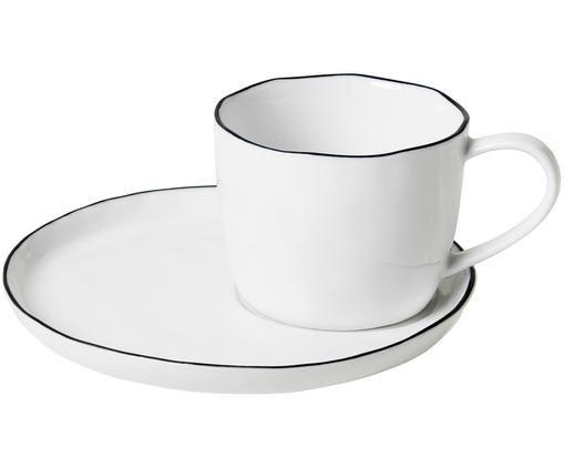 Handgemachte Tasse mit Untertasse Salt, Porzellan, Gebrochenes Weiß<br>Rand: Schwarz, Ø 8 x H 7 cm