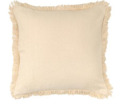 Kissen Prague mit Fransenabschluss, mit Inlett, Vorderseite: Baumwolle, grob gewebt, Rückseite: Baumwolle, Gebrochenes Weiß, 40 x 40 cm