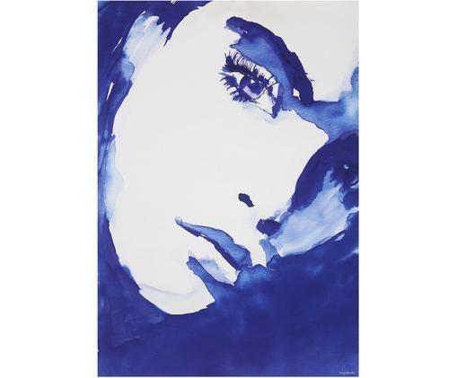 Stampa su tela Sophie, Tela, Blu scuro, bianco, Larg. 42 x Alt. 59 cm