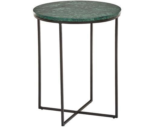Marmeren bijzettafel Alys, Tafelblad: marmer, Frame: gepoedercoat metaal, Tafelblad: groen marmer. Frame: mat zwart, Ø 40 x H 50 cm