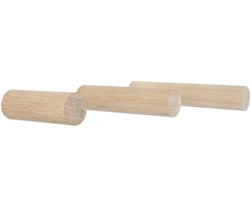 Set ganci da parete Stabs, 3 pz., Legno di quercia, massiccio, naturale, Legno di quercia, Diverse dimensioni