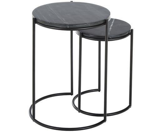 Set tavolini in marmo Ella, Ripiani: pietra naturale di marmo, Struttura: metallo verniciato a polv, Piani d'appoggio: marmo nero Struttura: nero opaco, Diverse dimensioni