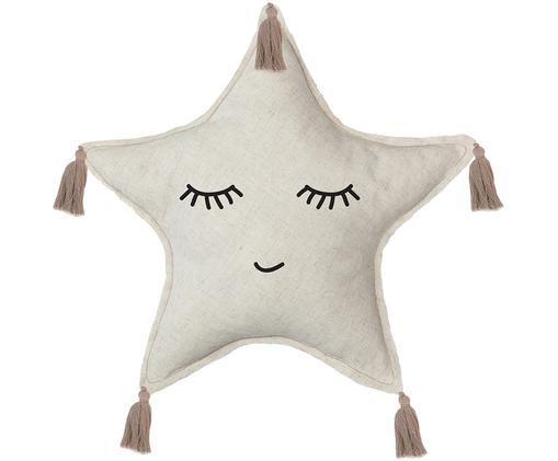Kuschelkissen Happy Star, Bezug: 85% Polyester, 15% Leinen, Beige, Hellbraun, Schwarz, 45 x 45 cm