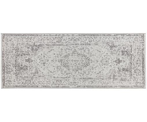 In- en outdoor loper Cenon, Polypropyleen, Crèmekleurig, grijs, 77 x 200 cm