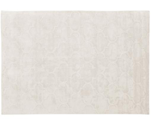 Alfombra artesanal de viscosa Magali, Crema