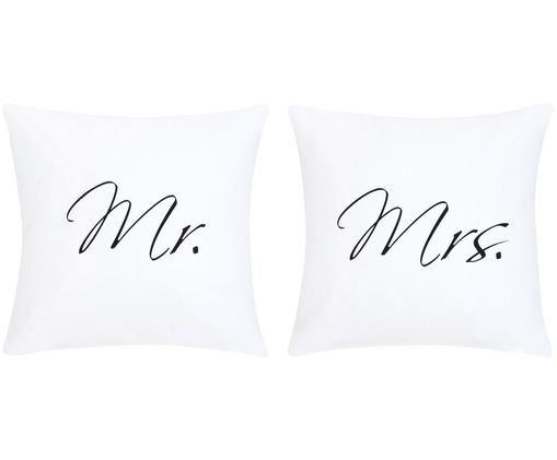 Kissenhüllen 2er Set Mr&Mrs mit Schriftzug, Webart: Panama, Weiß, Schwarz, 40 x 40 cm