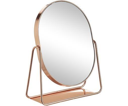 Kosmetikspiegel Gloria, Metall, lackiert, Rosegoldfarben, 16 x 22 cm