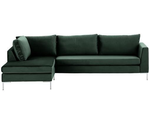 Sofa narożna z aksamitu Luna, Tapicerka: aksamit (100% poliester) , Stelaż: lite drewno bukowe, Nogi: metal galwanizowany, Ciemnyzielony, S 280 x G 184 cm
