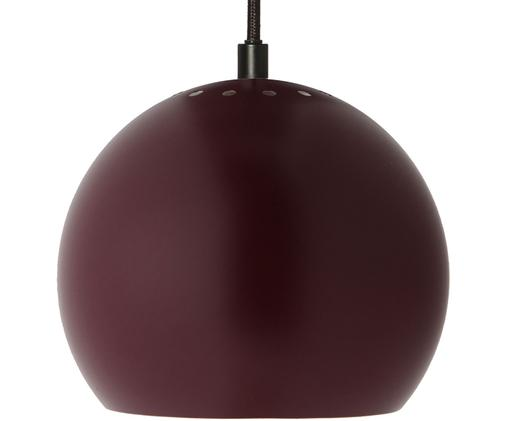 Kleine Kugel-Pendelleuchte Ball, Messing, pulverbeschichtet, Textilkabel, Dunkelrot, Ø 18 x H 16 cm