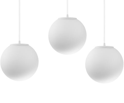Suspension boule en verre opalescent Tsuki, Globe : blanc opale Attache : blanc