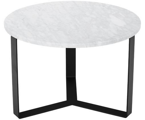 Okrągły stolik kawowy z marmuru Theo, Blat: marmur Carrara, Stelaż: metal powlekany, Biało szary marmur, czarny, Ø 60 x W 40 cm