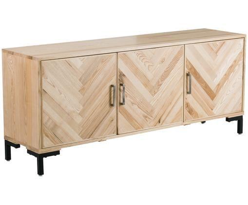 Sideboard Leif aus Massivholz, Korpus: Massives Eschenholz, lack, Griffe: Metall, beschichtet, Füße: Metall, pulverbeschichtet, Eschenholz, 177 x 75 cm