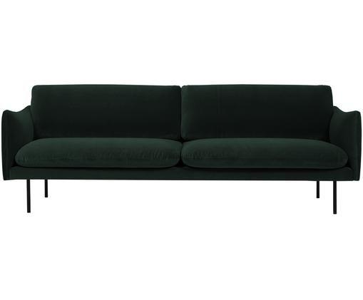 Sofa z aksamitu Moby (3-osobowa), Tapicerka: aksamit (wysokiej jakości, Stelaż: lite drewno sosnowe, Nogi: metal malowany proszkowo, Ciemnyzielony, S 220 x G 95 cm