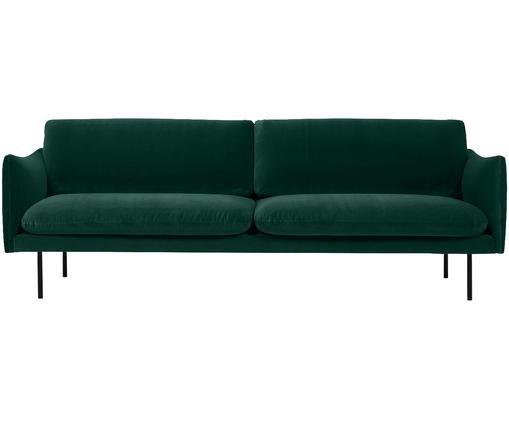 Sofá de terciopelo Moby (3plazas), Tapizado: terciopelo (poliéster de , Estructura: madera de pino macizo, Patas: metal, pintura en polvo, Verde oscuro, An 220 x F 95 cm