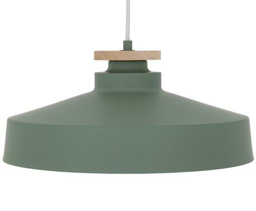 Lampada a sospensione scandi Malmö, Paralume: metallo, legno, Baldacchino: metallo, Verde, Ø 40 x Alt. 20 cm