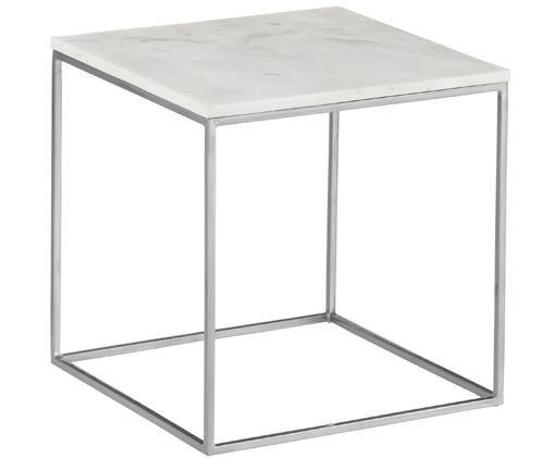 Marmeren bijzettafel Alys, Tafelblad: marmer natuursteen, Frame: gepoedercoat metaal, Tafelblad: wit-grijs marmer, licht glanzend. Frame: mat zilverkleurig, 50 x 50 cm