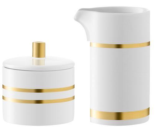 Set lattiera e zuccheriera in porcellana Deco 2 pz, Porcellana, Bianco, dorato, Diverse dimensioni