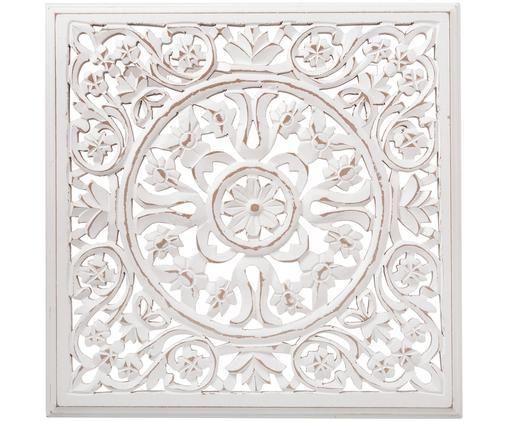 Ręcznie wykonana dekoracja ścienna Malika, Płyta pilśniowa (MDF), Biały, antyczne wykończenie, S 38 x W 38 cm