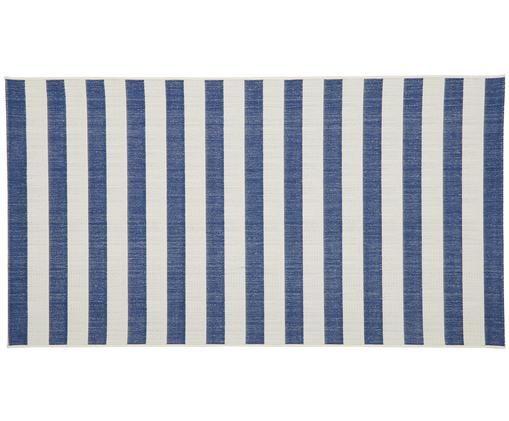Gestreifter In- & Outdoorteppich Axa, Flor: Polypropylen, Weiß, Blau, B 80 x L 150 cm (Größe XS)
