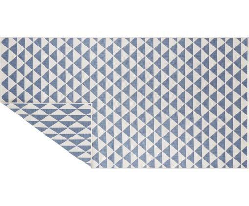 In- & Outdoorteppich Tahiti im Ethno Style, Polypropylen, Blau, Cremefarben, B 80 x L 150 cm (Größe XS)