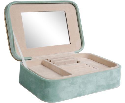 Scatola portagioielli Palmeo, Rivestimento: velluto di poliestere, Turchese, dorato, Larg. 21 x Alt. 7 cm