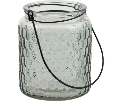 Windlicht Alsace, Glas, Metall, Grün, transparent, Schwarz, Ø 10 x H 12 cm