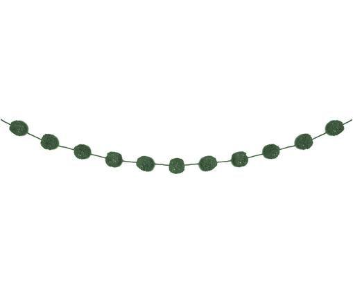 Ghirlanda Pompon, Cotone con filo di lurex, Petrolio, dorato, Lung. 450 cm
