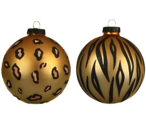 Set palle di Natale Cats, 2 pz., Dorato, nero