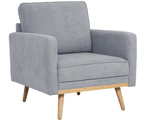 Fauteuil Saint, Bekleding: polyester, Frame: massief grenenhout, spaan, Bekleding: grijs. Poten en frame: eikenhoutkleurig, B 85 x D 76 cm