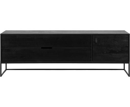 Credenza nera Silas, Struttura: metallo verniciato, Nero, Larg. 180 x Alt. 61 cm