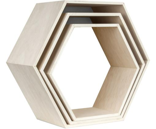 Komplet półek ściennych Hexagon, 3 elem., Sklejka, Jasny brązowy, biały, Różne rozmiary
