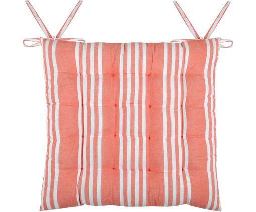 Gestreifte Sitzauflage Mandelieu in Koralle, Baumwollgemisch, Koralle, Weiß, 40 x 40 cm