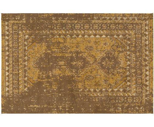 Alfombra artesanal de chenilla Rebel, estilo vintage, Parte superior: 95%algodón, 5%poliéster, Reverso: 100%algodón, Amarillo, crema, marrón, An 200 x L 300 cm (Tamaño L)