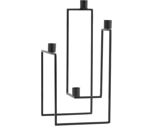 Świecznik Ora, Metal malowany proszkowo, Czarny, S 18 x W 35 cm