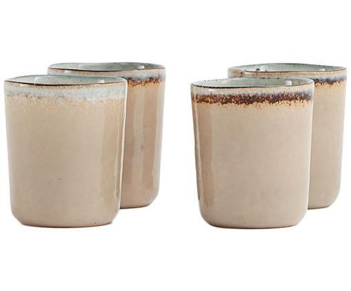 Set tazze Nomimono, 4 pz., Terracotta, Grigio, grigio, Ø 8 x Alt. 10 cm