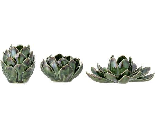 Handgefertigtes Teelichthalter-Set Gloria, 3-tlg., Steingut, Grün, Sondergrößen