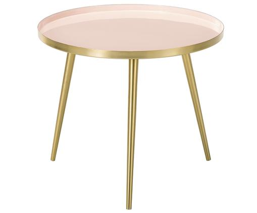 Okrągły stolik kawowy z metalu Amalia, Blat: jasny różowy Nogi stolika: odcienie złotego, Ø 50 x W 42 cm