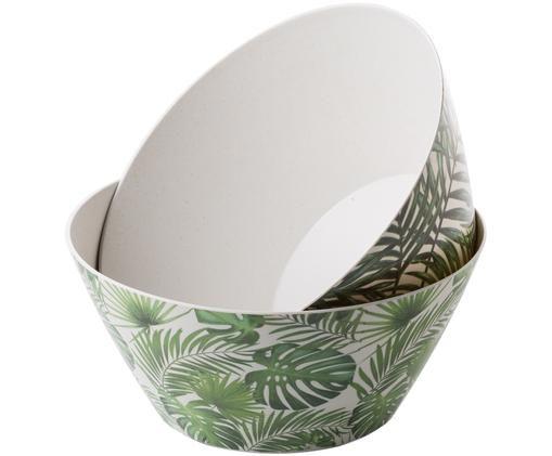 Set ciotole in bambù Tropical, 2 pz., 55% fibra di bambù, 25%  amido di mais, 15% melamina, Verde, bianco, Ø 25 x A 12 cm