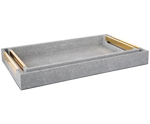Deko-Tablett-Set Megan, 2-tlg., Tablett: Mitteldichte Holzfaserpla, Außen: Kunstleder, Griffe: Metall, Unterseite: Samtbezug, Dunkelgrau, Sondergrößen