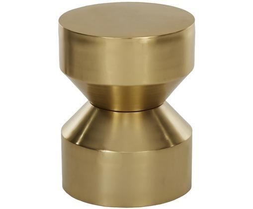 Tavolino Juliana, Metallo rivestito, Dorato leggermente lucido, Ø 36 x Alt. 45 cm