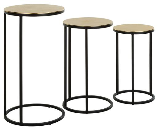 Set tavolini Calvin, 3 pz., Dorato con  finitura antica