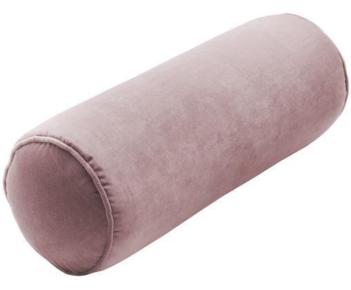Cuscino a rullo in velluto lucido Monet, con imbottitura, Rivestimento: 100% velluto di poliester, Rosa cipria, Ø 18 x Lung. 50 cm